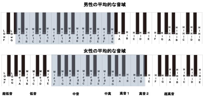 男女別での平均的な音域